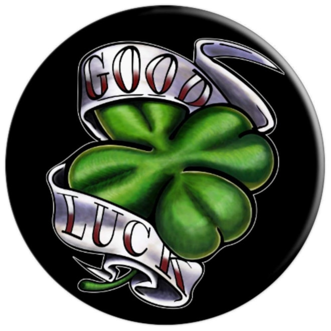 Good Luck Four Leaf Clover St. Patricks Day Tattoo - PopSockets Grip and Stand for Phones and Tablet