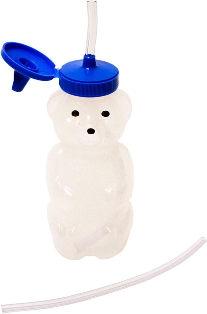 Talktools Honey Bear Drinking Cup with 2 Flexible Straws - Includes Instructions - Spill-proof Lid