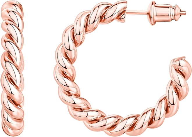 Rose Gold 14K Gold Plated 925 Sterling Silver Twisted Rope Hoop
