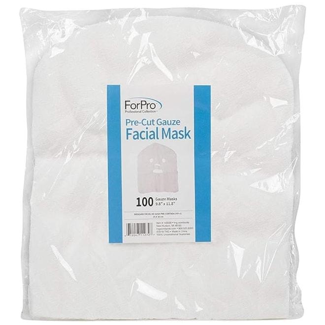 Precut Gauze Facial Mask, 100% Cotton Gauze, for Facial Treatments and Masks, 100-Count
