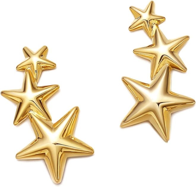 18K Gold Plated Triple Star Climber Earrings 925 Silver Post