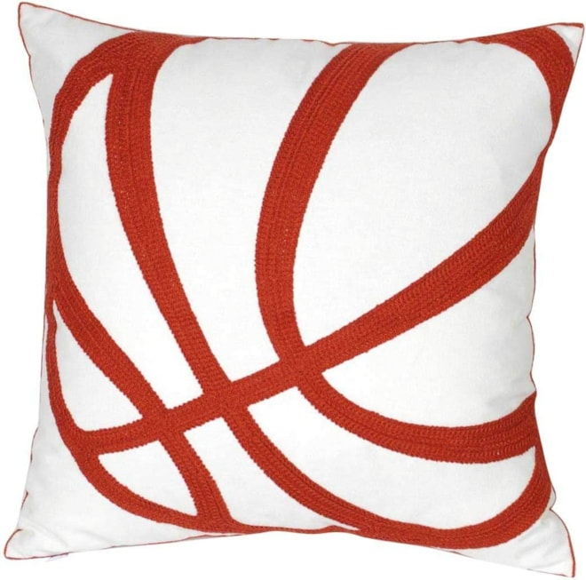 Embroidered Basketball Throw Pillow Cover