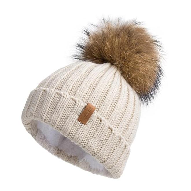 Turn up Beanie Hat with Pompom