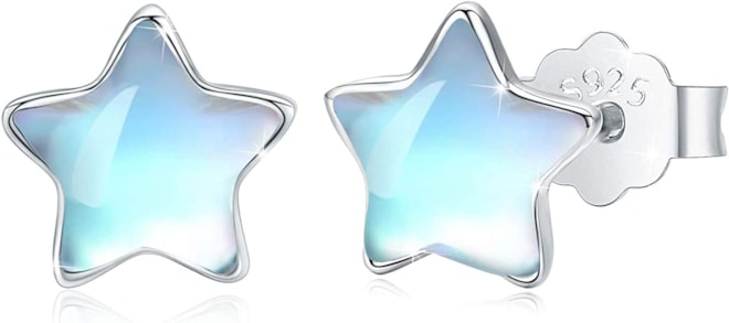 Star Earrings S925 Sterling Silver Rainbow Synthetic Moonstone