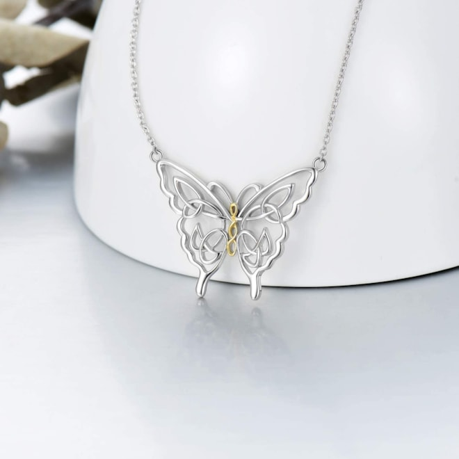 Dainty Butterfly Necklace Sterling Silver Celtic Knot