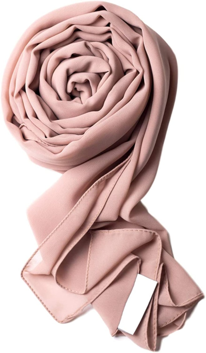 Pink Taupe Premium Chiffon Wrap Head Scarf
