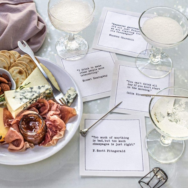 Drinking Quotes Cotton Cocktail Napkins
