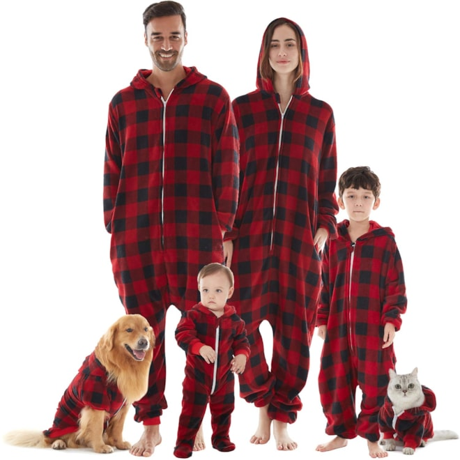 Drop Seat Onesie Hooded PJs for Families