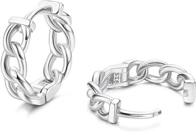 Sterling Silver Huggie Hoop Chain Earrings