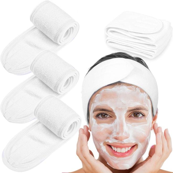 4 Counts Spa Facial Terry Cloth Headband with Magic Velcro