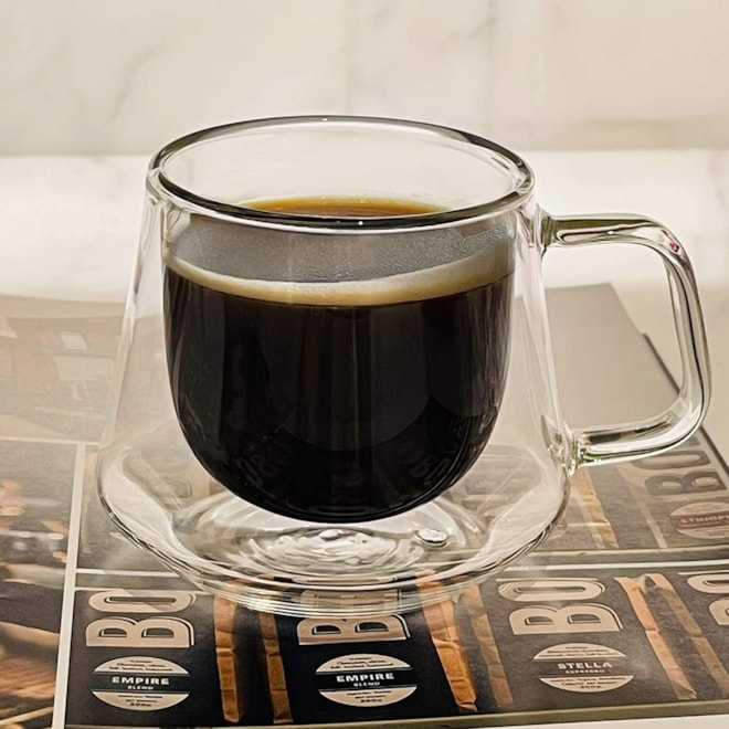 Clear Glassware Espresso Cups Double Walled  6.8-Ounce, Set of 2