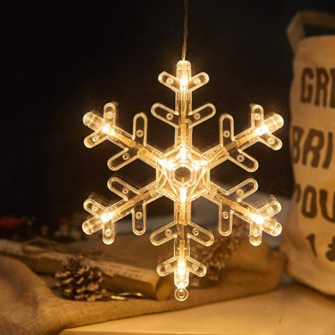 YOGIRL LED Christmas Lights with Suction Cup Room Window Snowflake Decoration Lights Warm Light Whit