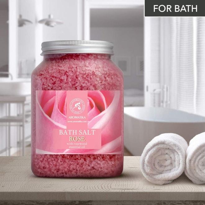 Rose Bath Salts 46 oz - Natural Rosewood Oil & Rose Extract