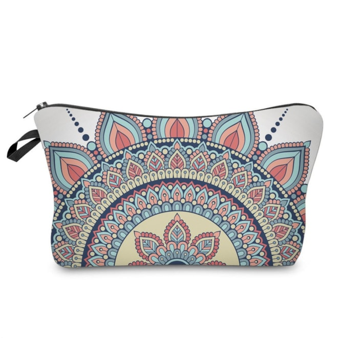Mandala Flowers Cosmetic Bag