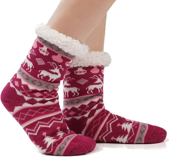 Warm Fleece Lined Winter Soft Slipper Socks Christmas With Non Slip