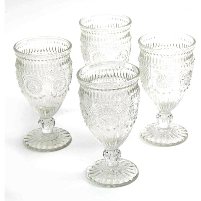 Adeline Embossed Glass Goblets