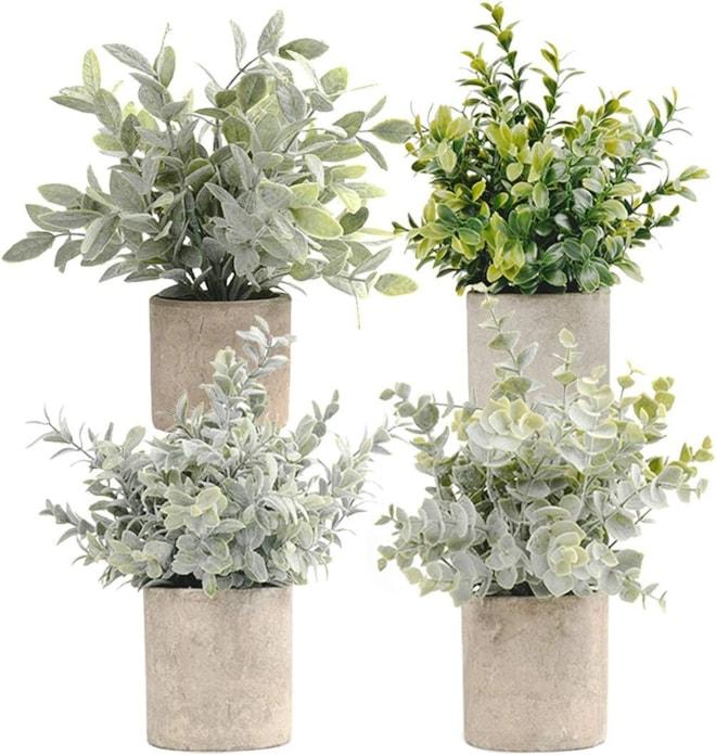 Mini Potted Artificial Eucalyptus Plants