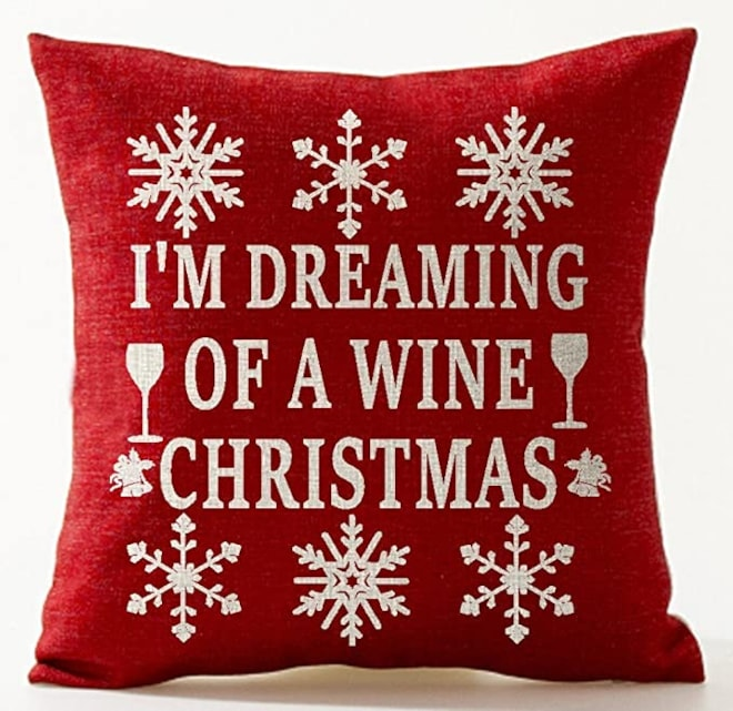 """""""I'm Dreaming Of A Wine Christmas"""" Pillow Cover"""