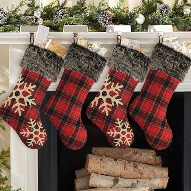 Burlap Snowflake and Cuff Stockings