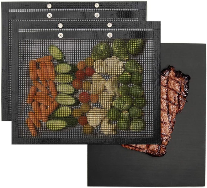Extra Large BBQ Grill Mesh Bags Pouches + Mat