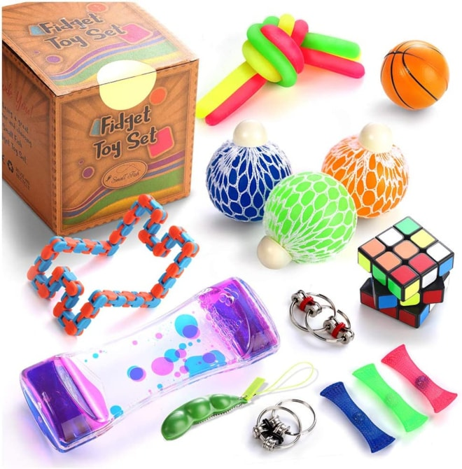 Fidget Toys Set, 16 Pcs. Sensory Tools Bundle for Stress Relief and Anti-Anxiety for Kids and Adults