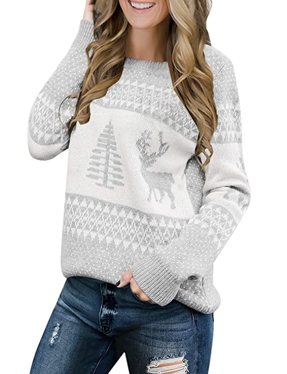 LookbookStore Long Sleeves Ugly Christmas Tree Reindeer Sweater