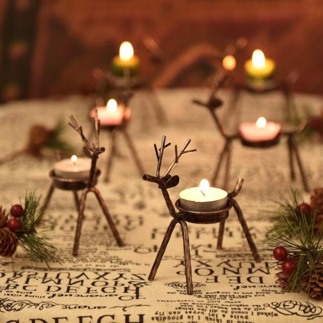 Reindeer Candle Holder Set