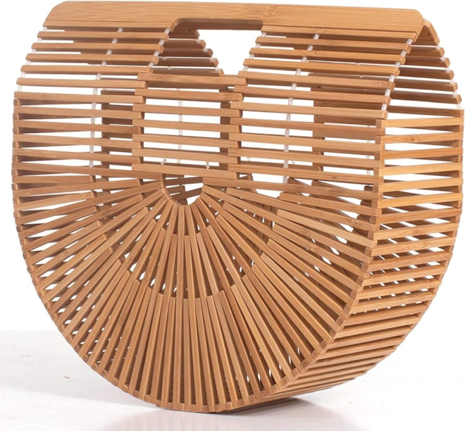 Bamboo Handbag Natural Basket Bag -  Large