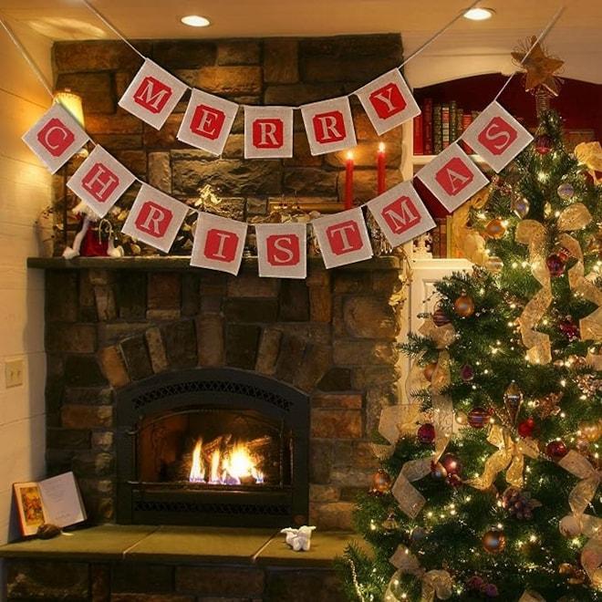 Merry Christmas Jute Burlap Banner