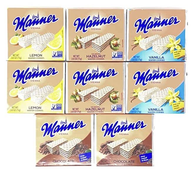 Manner Wafers Variety Pack of 4 Flavors: Vanilla, Chocolate, Hazelnut, Lemon
