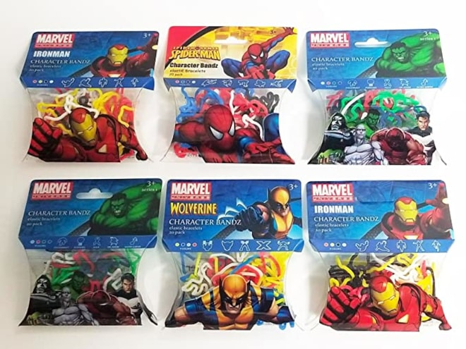 Encore Marvel Avengers Character Wrist Silly Bandz (6pk) 184 Bands Iron Man Spiderman Hulk Wolverine