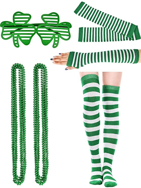St. Patrick's Day Costume Accessory Set, Include St. Patrick's Bead Necklace, Shamrock Glasses,