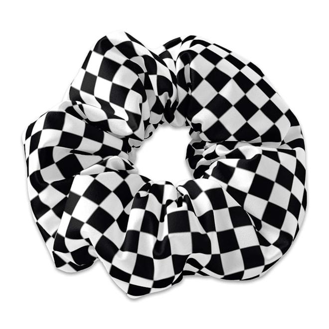 Black and White Checkered Scrunchie