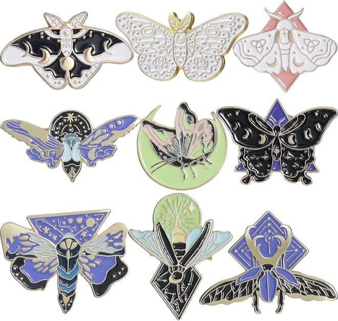 9 Enamel Pins Set