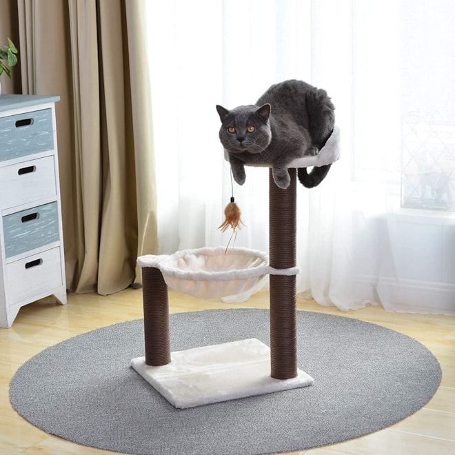 Catry, Cat Tree Hammock Bed with Natural Sisal Scratching Posts