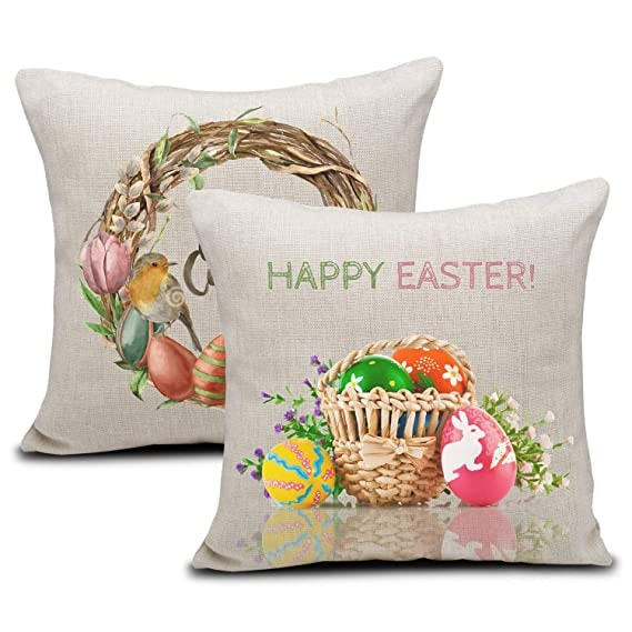 Easter Colorful Egg Throw Pillow Case Cushion Cover Spring Decor for Sofa Couch 18 x 18 Inch