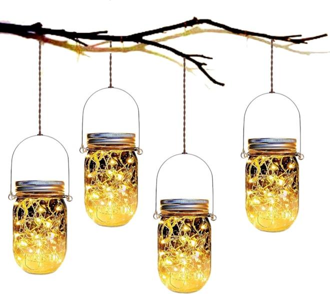 4-Pack Solar Powered  Firefly Jar Lights
