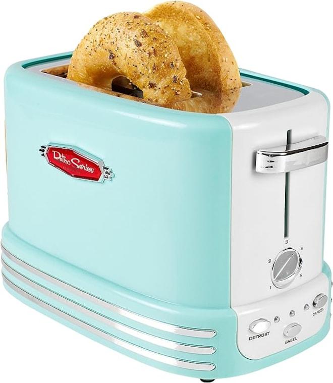 Nostalgia Bagel Toaster, Aqua Blue