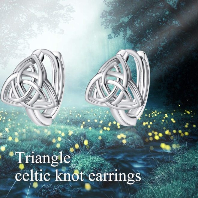 Celtic Knot Trinity Hoop Earrings s925 Sterling Silver