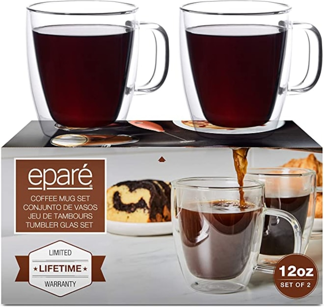 Eparé Insulated Coffee Cups Set (12 oz, 350 ml) – Double Wall