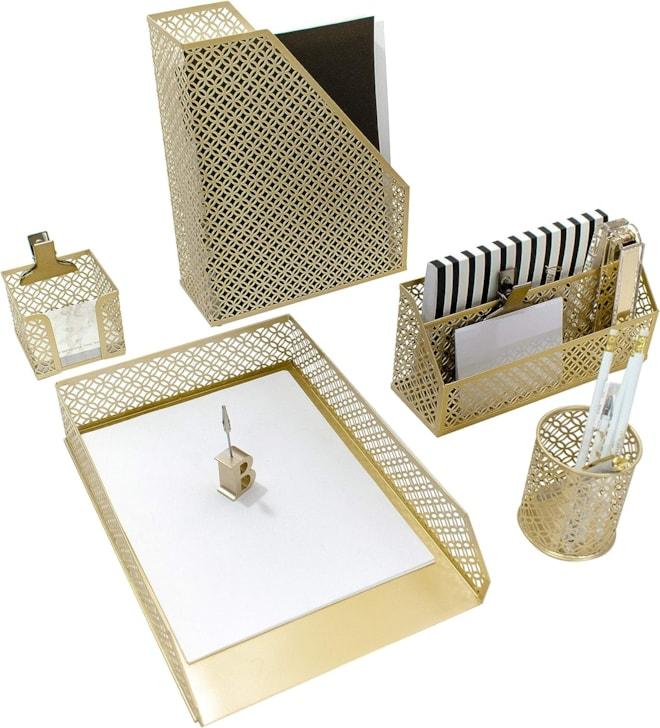 5 Piece Cute Gold Desk Organizer Set