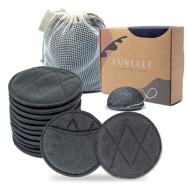 Charcoal Bamboo Reusable Makeup Remover Pads 12 Pack - Reusable Face Pads with Laundry Bag +