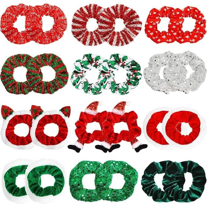 24 Pieces Christmas Hair Scrunchies