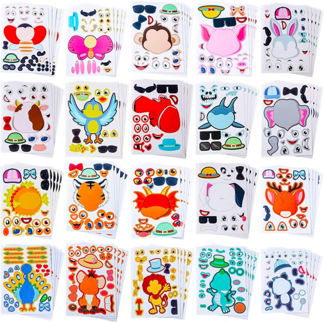 Make Your Own Stickers for Kids Make-a-Face Stickers 100 Pack