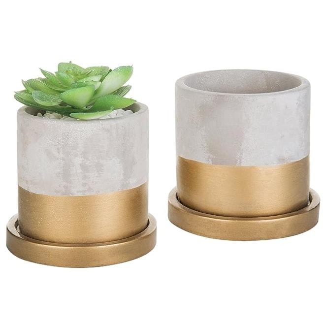 Cement & Gold-Tone Mini Planters