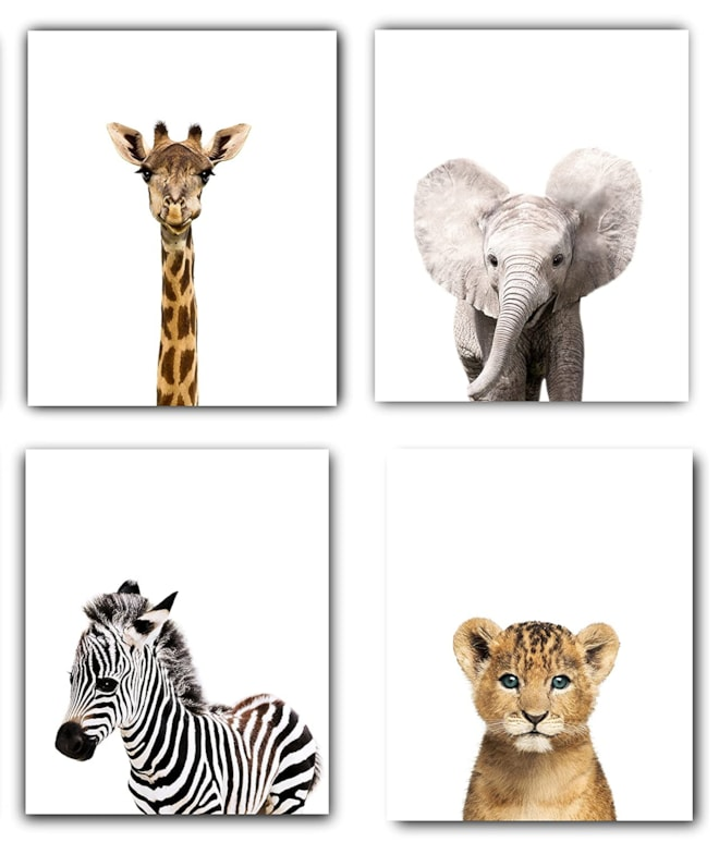Safari Baby Animals Nursery Art Set