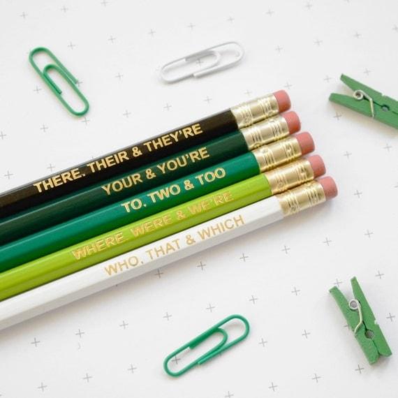 Grammar Pencil Set - Ombre Green