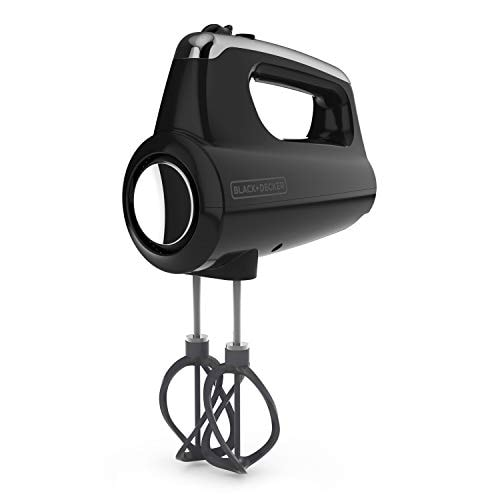 BLACK+DECKER MX600B Helix Performance Premium 5-Speed Hand Mixer, 5 Attachments + Case, Black