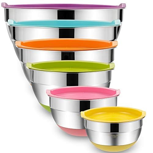 Mixing Bowls with Airtight Lids, 6 piece Stainless Steel Metal Bowls by Umite Chef, Colorful Non-Sli