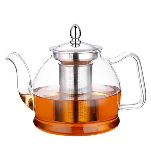 Hiware 1000ml Glass Teapot with Removable Infuser, Stovetop Safe Tea Kettle, Blooming and Loose Leaf